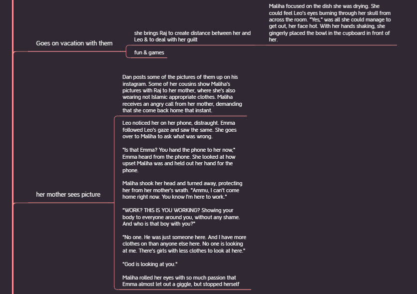 """Screenshot of mind map on current work in progress. It illustrates how the first nodes are summary nodes like, """"goes on vacation with them"""" and """"her mother sees picture"""" and the second level nodes are either a deeper summary or the first write up of actual scenes."""